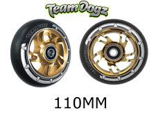 2 x Team Dogz Black Pu Gold Core 110mm Alloy Metal Stunt Scooter Wheels Abec 11