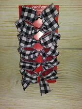 NEW! Set of 6 BOWS Christmas ORNAMENTS White & Black Buffalo Check Plaid Fabric
