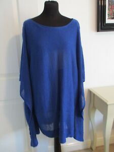 """WOMEN's PHASE EIGHT Size L QUIRKY ARTY OVERSIZED BLUE LINEN TUNIC TOP 48"""" DRAPED"""