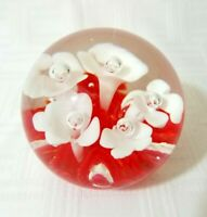 Vintage Maude and Bob St. Clair 1980 White Trumpet Flower Art Glass Paperweight