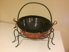 Longaberger 2006 Large Treat Basket w/Liner, Protector, Wrought Iron Spider Legs