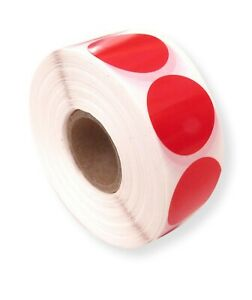 1000 GLOSS RED 25MM ROUND SELF ADHESIVE BLANK LABELS, STICKERS, SECURITY, SEALS