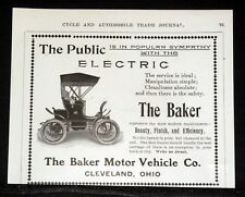 1903 OLD MAGAZINE PRINT AD, THE BAKER ELECTRIC MOTOR VEHICLE, SERVICE IS IDEAL!