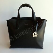 FURLA Textured SAFFIANO LEATHER Divide-It 'SALLY' Black Tote Bag Handbag NWT