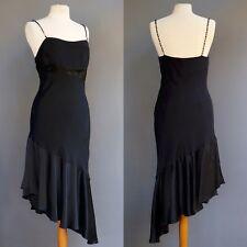Nicole Miller Cocktail Dress Black Charmeuse Silk Beaded Asymmetrical Hem M L