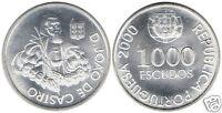 manueduc   PORTUGAL  2000 1000 ESCUDOS PLATA 27 grs.  D. Joao De Castro Nueva