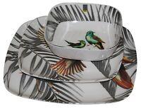 Set of 4 Melamine Dinner Set Plastic Cereal Bowls or Dinner Plates Hummingbird