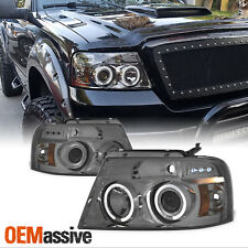 Fits 2004-2008 Ford F150 Smoked Dual Halo LED Projector Headlights Left/Right