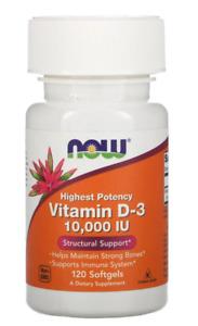 Now Foods Highest Potency Vitamin D-3 10000 IU 120 Softgels Bones Structural