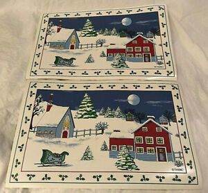 2 Snowy Scene House and Church Vinyl Placemats/Place Mats