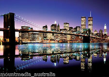 BROOKLYN BRIDGE NEW YORK GIANT POSTER (100x140cm) LANDSCAPE NIGHTSCAPE PICTURE