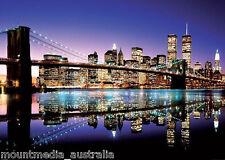 BROOKLYN BRIDGE NEW YORK GIANT POSTER (100x140cm) LANDSCAPE NIGHTSCAPE PICTURE