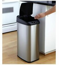 13 Gal Stainless Steel Touchless Motion Sensor Trash Can Hands-Free Garbage Bin