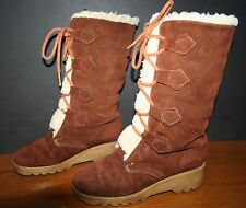 VTG Women's Suede Shearling Lace-UP Winter Wedge Boots 6 EUC Demi-Wedge