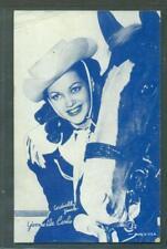 1950'S  EXHIBIT ARCADE WESTERN COWGIRL BLUE TINT CARD YVONNE DeCARLO W/ HORSE VG