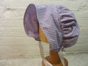 ADULT BABY SISSY BONNET lilac gingham  HAT COSPLAY LOLITA FANCYDRESS Victorian