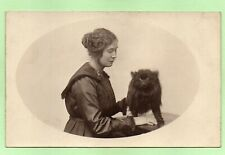 Black Pomeranian Spitz Dog Edwardian ? Lady Antique Photo Rppc Postcard