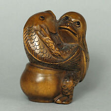 Japanese 1940's Netsuke Boxwood Wood KAPPA with fish figurine Carving wn470