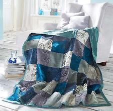 Patchwork Decke Azur Seidenoptik Patchworkdecke Überwurf Tagesdecke 130 x 180