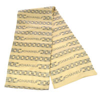 CHANEL Vintage CC Logos Scarf Stole Ivory Gray 100% Silk Italy AK31566j