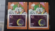 2x Bloc Sheet AJMAN Apollo 8 Flight to Moon Emirates Imperf + Perf. Neufs MNH**