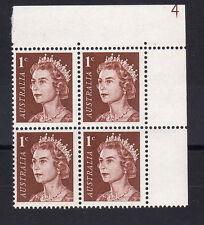 Australie 1966 1c profonde rouge-marron plaque 4 SG 382 neuf sans charnière.