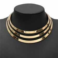 US Choker Necklace Women Gorgeous Metal Multilayer Statement Bib Collar Necklace