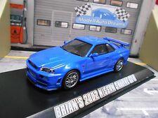 NISSAN Skyline GT-R 2002 blau blu Brian Fast & Furious black R-34 Greenligh 1:43