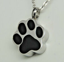 Dog or Cat Cremation Jewelry, Black Paw Print Urn Necklace || Ashes Keepsake