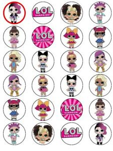 24 X PRE CUT LOL DOLLS WAFER PAPER PARTY / BIRTHDAY CUPCAKE TOPPERS