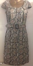New F+F Florence Fred Python Snake Print Cotton Fitted Shift Dress Belt 10 S 38