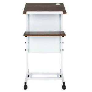 Rolling Height Adjustable Podium Presentation Lectern Mobile Stand Up White