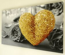 YELLOW OCHRE HEART BLACK AND WHITE CANVAS WALL ART PICTURE 18 X 32 INCH