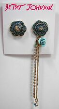 Betsey Johnson Skulls and Roses Blue Crystal Mismatch Gold Tone Earrings MSRP$38
