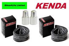 2 x Kenda Inner Tube 26 x 1.5/2.2 Schrader Long + FREE Alloy Valve Caps KT36E