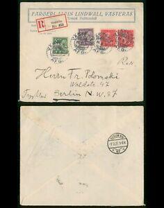Sweden Vasteras to Berlin Germany Registered Multifranked 1927 Cover