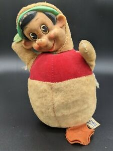 Vintage Gund Walt Disney Pinocchio Chime Poly Poly Plush Toy Rubber Face