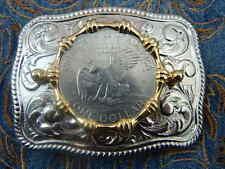 Neue Silber Metall Gürtelschnalle USA American Eagle One Dollar Münze Western Cowboy
