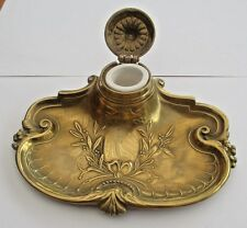 Antique Art Nouveau Solid Cast Brass Inkwell & Ceramic Liner c1900
