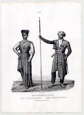 Java-Indonesien-Jawa-Sunda-Inseln-Tracht-Ethnologie - Lithographie-Honegger 1840