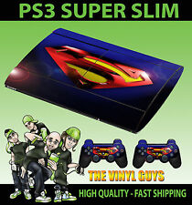 PLAYSTATION PS3 SUPER SLIM SUPERMAN LENS FLAIR SKIN STICKER & 2 X PAD SKINS