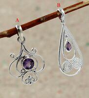 Amethyst Gemstone Handmade Party Wear Gift Pendant 925 Sterling Silver Jewelry