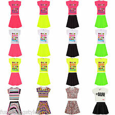 Girls Neon Skater Dress Kids Party Dresses New Age 7 8 9 10 11 12 13 Years