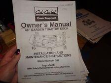"Cub Cadet Owner'S Manual Model #317 48"" Garden Tractor Deck"