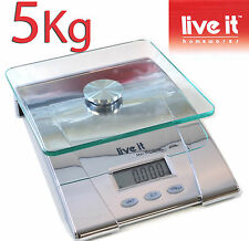 KITCHEN SCALES COMPACT GLASS TOP 5kg 1g INCREMENT DIGITAL POSTAL LIVE IT BAKING