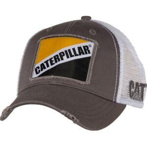 Caterpillar CAT Equipment Trucker Gray Retro Twill Mesh Diesel Cap Hat Vintage