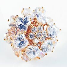 USA RING use SWAROVSKI CRYSTAL Fashion Gemstone Gold Jewel Wedding Bridal 6.25