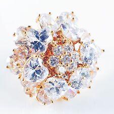 USA RING use SWAROVSKI CRYSTAL Fashion Gemstone Gold Jewel Wedding Bridal 6.25