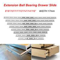 """1 Pair 17mm Ball Bearing Drawer Slides Side Mount Full Extension Slide 8""""-16"""" !"""