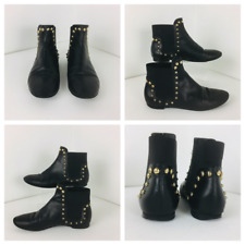 Russell & Bromley Ladies ankle chelsea boots gold studs black leather punk rock